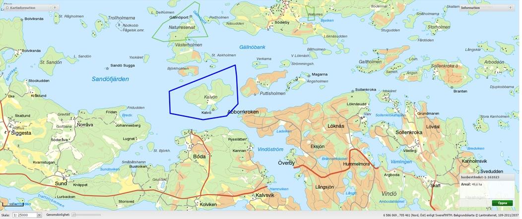 gällnö karta Kalvön i Stockholms skärgård gällnö karta